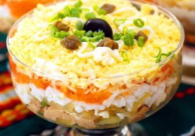 Салат «Северный» с печенью трески